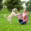 Young woman playing  with puppy in park - Stock Photo