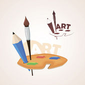 Art palette with paint brush and pencil — Stock Vector