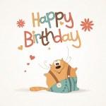 Cute happy birthday card. — Stock Vector
