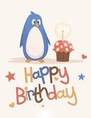 Cute happy birthday card — Stock Vector