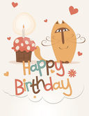 Cute happy birthday card — Stock Vector