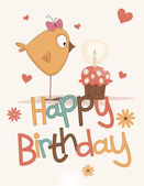 Cute happy birthday card — Vetor de Stock