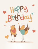 Happy birthday card with love bird — Stock Vector
