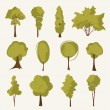 Illustration tree set - Stock Vector