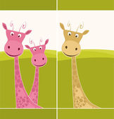 Postcard with a giraffe — Stock Vector
