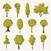 Illustration tree set — Stockvektor
