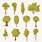Juego de árbol de ilustración — Vector de stock