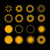 Symbols sun in set — Vector de stock