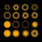 Symboly slunce v sadě — Stock vektor
