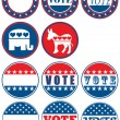 Set of 11 election campaign badges - Stock Photo