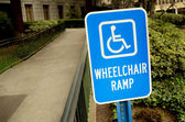 Handicap wheelchair ramp sign — Stock Photo
