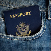 Us passport in jeans — Stock Photo