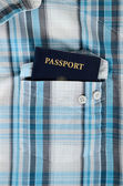 Passeport en chemise à carreaux — Photo