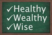 正在健康、 财富和智慧 — 图库照片