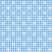 Blue Gingham Fabric with Flowers Background — Stock Photo