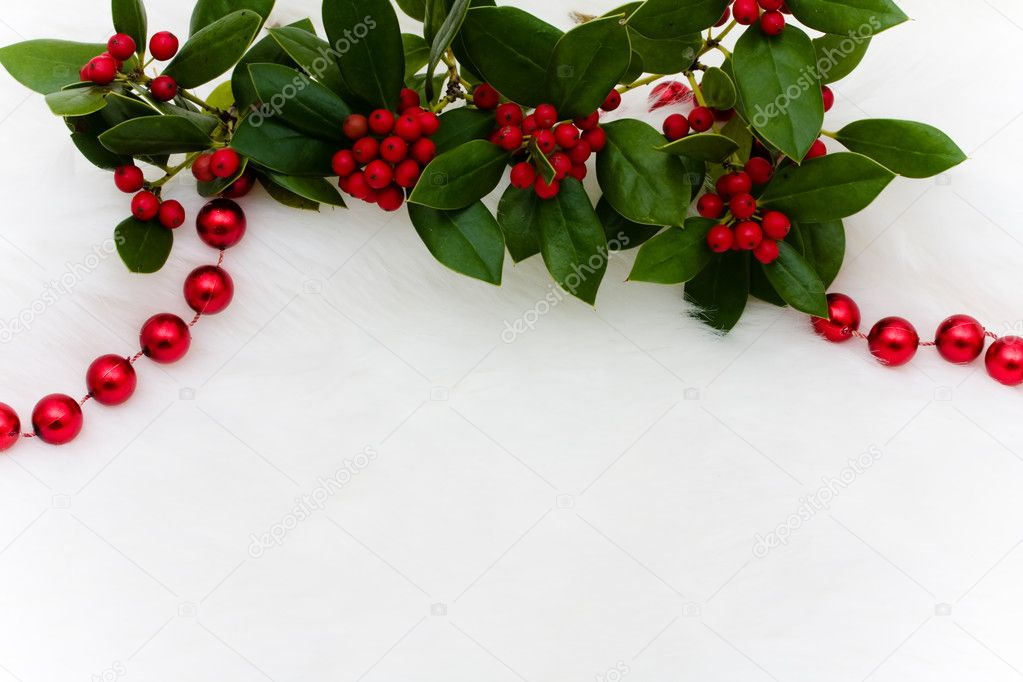 Red strung beads and holly and berries on a white fur background, Christmas background  Stock Photo #11843779