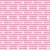 Pink Gingham Fabric with Flowers Background — Stock Photo