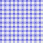 Purple Gingham Fabric with Hearts Background — Stock Photo