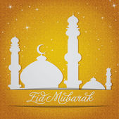 "White gold silver Mosque and stars ""Eid Mubarak"" (Blessed Eid) card — Stock Photo"