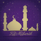 """Gold Mosque and stars """"Eid Mubarak"""" (Blessed Eid) card — Stock Photo"""