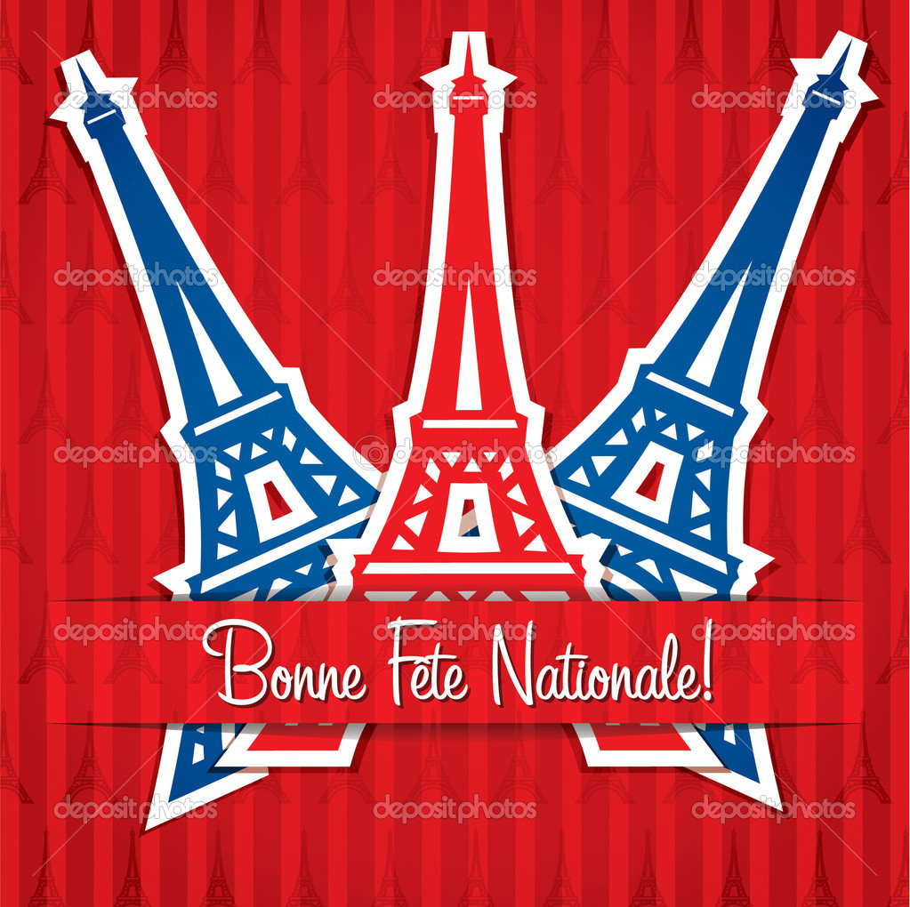 Eiffel tower sticker Bastille Day card in vector format. — Stock Photo #11323933