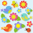 Set of flowers and birds - Stock Vector