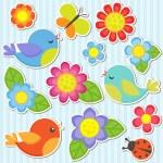 Satz von Blumen und Vögel — Stockvektor