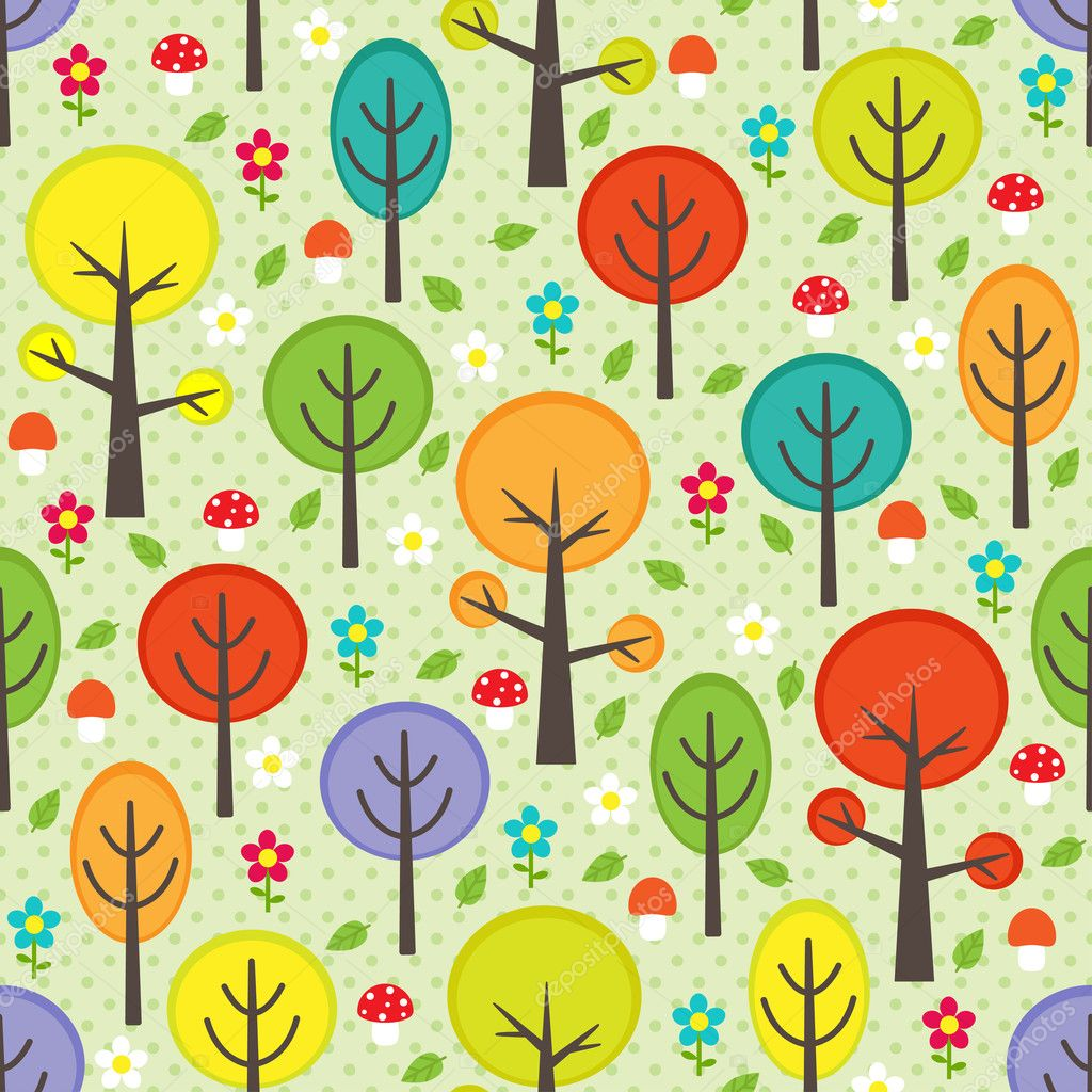 Vector forest seamless pattern with trees — Stock Vector #11149085