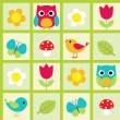 birds and flowers — Stock Vector