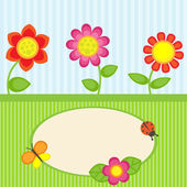 Flowers and butterfly — Stock Vector