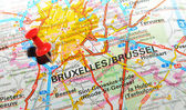 Brussels on map — Stock Photo