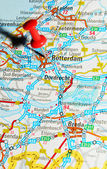 Rotterdam on map — Stock Photo