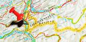 Lichtenstein on map — Stock Photo