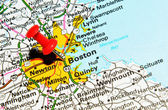 Boston city on map — Stock Photo