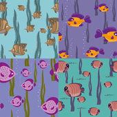 Seamless pattern pink fish — Stock Vector