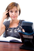 Young woman ready to answer the phone — Stock Photo