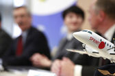 Conference on airplanes and in the background — Stock Photo