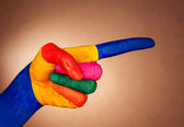 Closeup of man's hand gesturing-index — Stock Photo