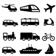 Transportation icons in black — Stock Vector #11079301