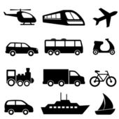 Transportation icons in black — Stock Vector