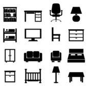 Ev ve ofis mobilyaları — Stok Vektör