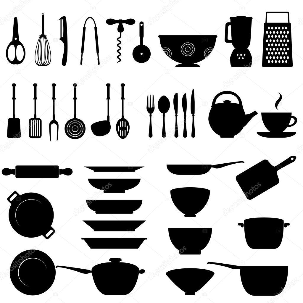 Kitchen utensil icon set stock vector soleilc 11739077 for Kitchen set vector