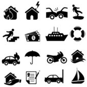 Försäkring ikonuppsättning — Stockvektor