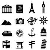 Reizen en toerisme pictogrammen — Stockvector