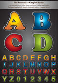 Four Graphic Styles Alphabet — Cтоковый вектор