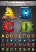 Four Graphic Styles Alphabet — Stock Vector