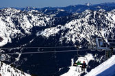 SkiIng Chairlift Snow Ridges Crystal Mountain Washington — Stock Photo