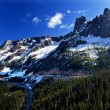 Bell Snow Mountain Washington Pass Roadway July Summer North Cas - Stock Photo