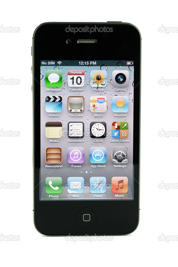 Apple iphone 4s in black, isolated in white background — Stock Photo #11988842