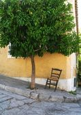 Lonely chair under a tree in central Athens — Stockfoto